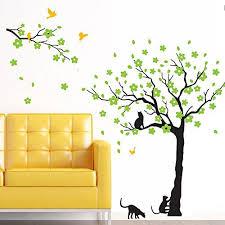 Black Tree Birds And Cats Wall Decals Removable Tree Wall Sticker Vinyl Wall Art Kids Room Living Room B Wall Stickers Bedroom Kids Room Art Kids Room Wall Art