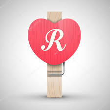clothes heart pin with letter r