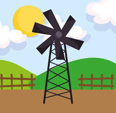 Premium Vector Windmill Wooden Fence Hills Sun Farm Cartoon Illustration