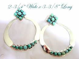 Stunning Carico Lake Turquoise Cluster/925 Huge Hoops by Navajo Patsy  Johnson | #1814903128