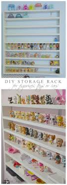 Diy Storage Rack For Figurines Littlest Pet Shops And Or Race Cars Diy Toy Storage Kids Room Shelves Diy Storage Rack