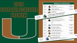 MIAMI HURRICANES 2020 FOOTBALL SCHEDULE ...