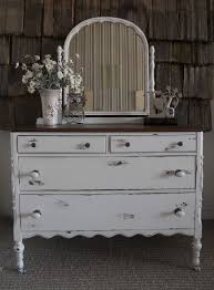 white distressed antique dresser with