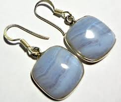 blue lace agate earrings natural aaa