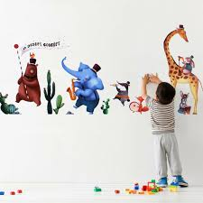 Animals Musci Band Wall Sticker Elephant Bear Decal Baby Nursery Kids Bedroom For Sale Online