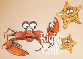 Crab Starfish Animal Mural Wall Decals Vinyl Art Stickers
