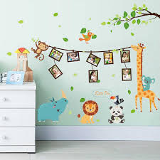 Cartoon Animal Photo Frame Large Wall Stickers Animals Decals Kids Room Decor Bedroom Kindergarten School Diy Removable Animal Decal Wall Sticker Animalroom Decoration Aliexpress