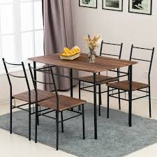 Industrial Small Dining Table Wood Top Vintage Antique Gun Metal Brown Seats 4 For Sale Online Ebay