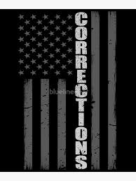Thin Silver Line American Flag Corrections Officers Vinyl Decal Black Silver