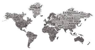 1 World Text Map Wall Decal Black On White Modern Wall Decals By 1 World Globes Maps
