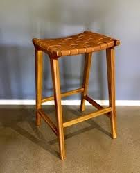 loft woven leather bar stool tan