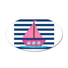 Pink Sailboat Navy Blue Stripes Wall Decal By Bbf Cafepress