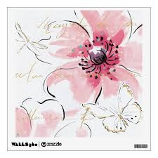 Simply Pink Watercolor Floral Wall Decal Zazzle Com