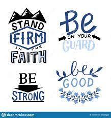 set of hand lettering christian quotes stand firm in the faith