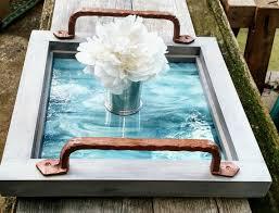 gray wood coffee table tray green
