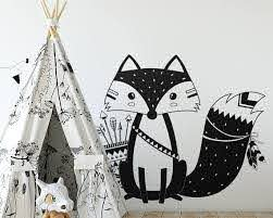 Tribal Fox Wall Decal Tribal Fox Nursery Decal Woodland Fox Wall Decal Tribal Nursery Wall Sticker Cute Fox Vinyl Wall Fox Decal Tribal Fox Tribal Nursery