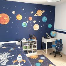 Solar System Wall Stickers Space Wall Sticker Planet Wall Etsy In 2020 Space Themed Bedroom Space Themed Room Space Wall Decals