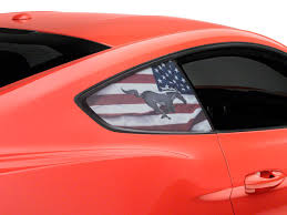 Mustang Perforated Running Pony Flag Quarter Window Decal 15 20 Fastback
