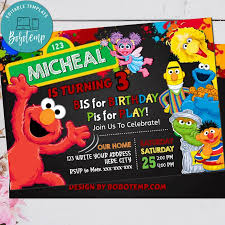 Invitacion De Cumpleanos De Elmo Impresa Sesame Street Invitar