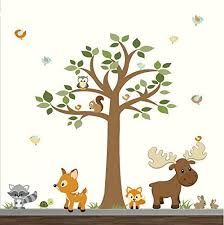 Amazon Com Woodland Forest Wall Decals Forest Wall Stickers With Tree Wall Decals Nursery Wall Decor Woodland Nursery Wall Art Children S Wall Stickers Decals Handmade