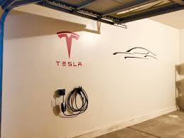Diy Tesla Garage Ordered Decals And Painted Wall Welcome Home Model 3 Teslamodel3