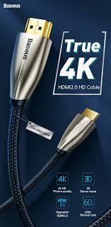 Cáp chuyển đổi Baseus Horizontal 4KHDMI Male to 4KHDMI Male Adapter Cable ( HDMI to HDMI) cho Apple TV