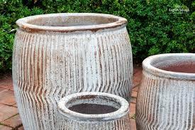 dolly tub style planters with glazed finish
