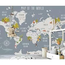 Gk Wall Design World Map And Animal Kids Textile Wallpaper Wayfair