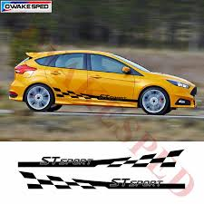 Racing Flag Stripes Car Stickers For Ford For Focus St Rs Sport Graphics Vinyl Decal Automobile Door Side Skirt Sticker Car Stickers Aliexpress
