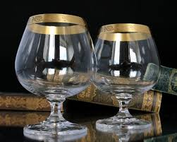 5x crystal cognac glasses with gold