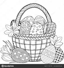 Happy Easter Black And White Doodle Easter Eggs In The Basket