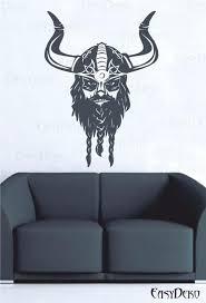 Viking Wall Decal Valhalla Warrior Thor Odin God Tattoo Etsy