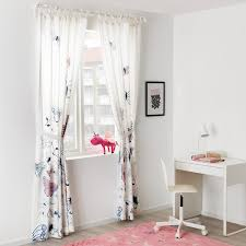 Sanglarka Curtains With Tie Backs 1 Pair Butterfly White Blue 47x98 Ikea