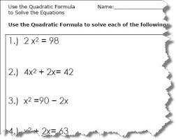 equations quadratic formula worksheets