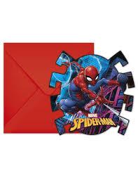 6 Tarjetas De Invitacion Spiderman Con Sobres Decoracion Y