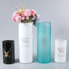 cylindrical colored glass flower vase