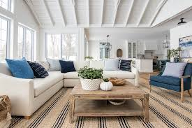 White Sectional Sofa And Navy Accent Chairs The Lilypad Cottage