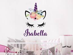 Wall Decal Girls Personalized Name Unicorn Colorful Head Vinyl Etsy