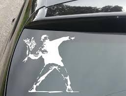 Car Styling For Banksy Throwing Flowers Car Window Jdm Vw Euro Dub Vinyl Decal Sticker Car Styling Style Vwjdm Style Aliexpress