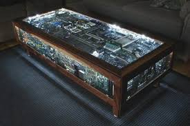 coffee table made from old computer