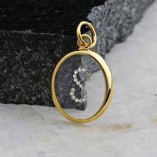 14k yellow gold diamond initial pendant
