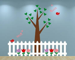 Heart Tree With Cute Birds Flowers And Picket Fence Wall Vinyl Decal Wall Decals Picket Fence Decor Classroom Walls Paint