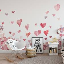 Valentine S Hearts Wall Decals Individual Watercolor Hearts Love Wall Mural Valentine Gift