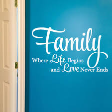 Family Where Life Begins And Love Never Ends Vinyl Wall Decal Family Room Decor Sign Family Picture Wall Decal Living Room Dining Room Home Hh2097