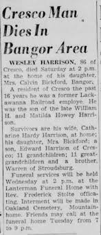 Wesley Harrison Obituary Appeared in The Pocono Record Aug. 19 1957 -  Newspapers.com