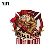 Bull Dog Volunteer Firefighter Car Sticker Pluto99