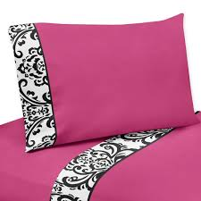 pc queen sheet set for hot pink black