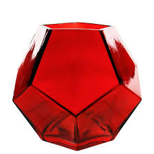 inch red geometric faceted gem glass vases