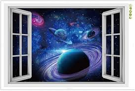 Amazon Com Cnuser Window View Wall Murals 3d Space Stickers Outer Star Wall Decals Milky Way Galaxy Decorations Arts Crafts Sewing