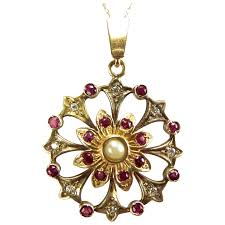 victorian 9ct gold diamond ruby pearl